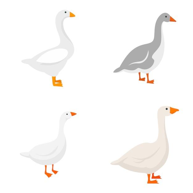 Goose icons set Premium Vector