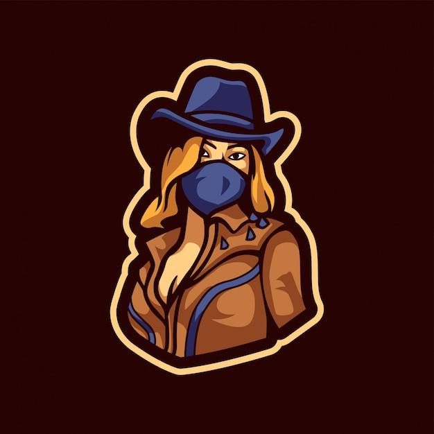 Gorgeous cowgirl logo Premium Vector