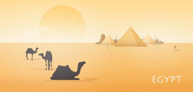 立っているとギザのピラミッドに対して横になっているラクダのシルエットと豪華なエジプトの砂漠の風景 Premiumベクター