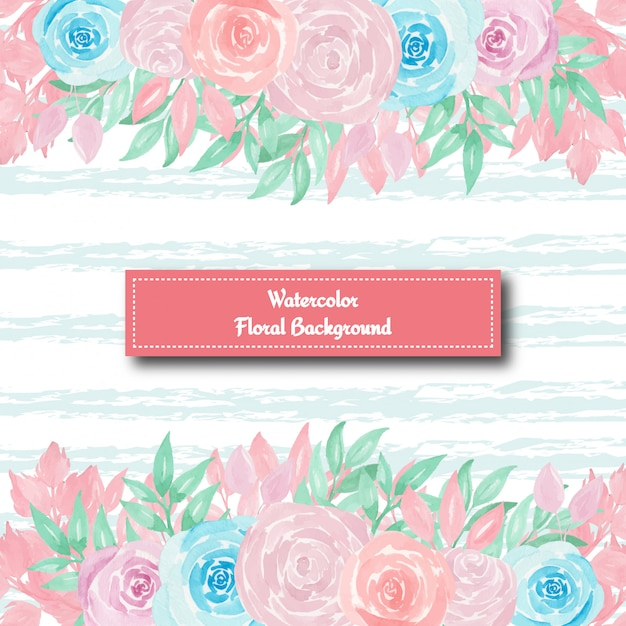 Gorgeous floral background with blue and pink roses Premium Vector