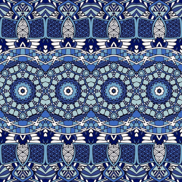 Gorgeous seamless patchwork pattern from blue oriental tiles, ornaments. Premium Vector