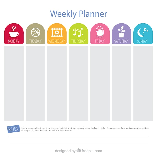 Gorgeous Weekly Planner Vector  Free Download
