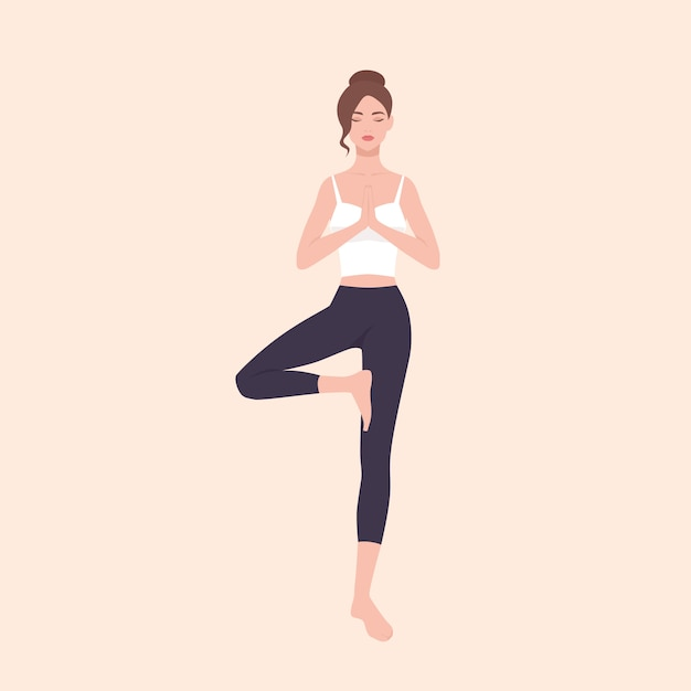 Premium Vector Gorgeous Woman Practicing Hatha Yoga And Zen Meditation Pretty Female Cartoon Character Standing In Tree Pose And Meditating Slim Yogi Girl Isolated On Light Background Flat Illustration See more ideas about yoga cartoon, yoga, yoga funny. https www freepik com profile preagreement getstarted 8297684