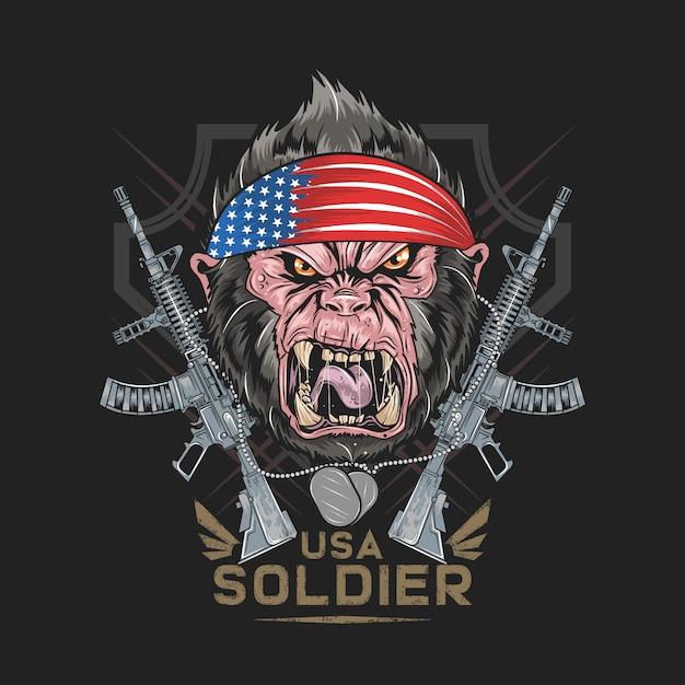 Горилла америка сша флаг с машиной gun artwork Premium векторы
