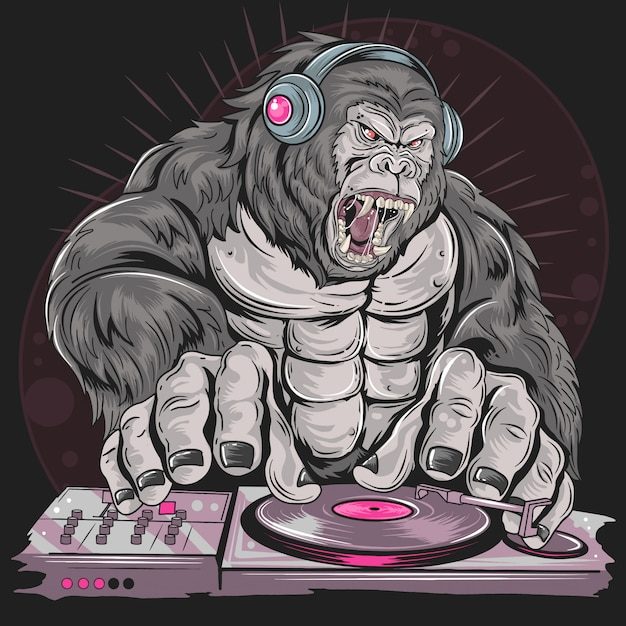 Gorilla dj music party Premium Vector