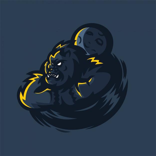 Gorilla esport gaming mascot logo template Premium Vector