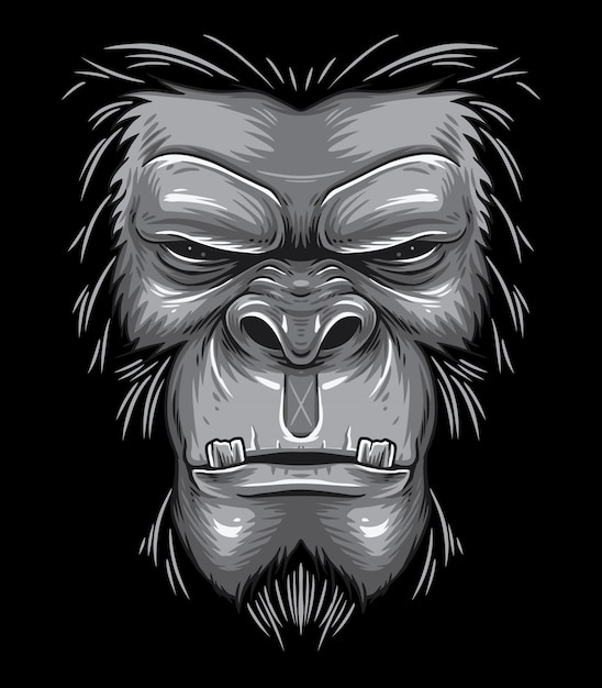 Gorilla face beast Premium Vector