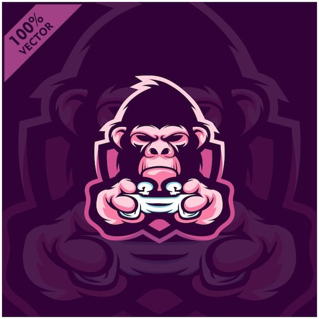 Gorilla gamer holding game console joystick. mascot logo design for esport team. Premium Vector