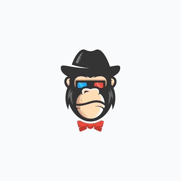 Gorilla geek concept illustration vector template Premium Vector