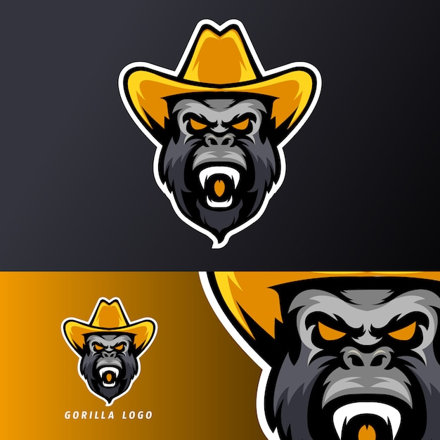 Gorilla hat sport esport gaming mascot logo template, suitable for streamer team Premium Vector