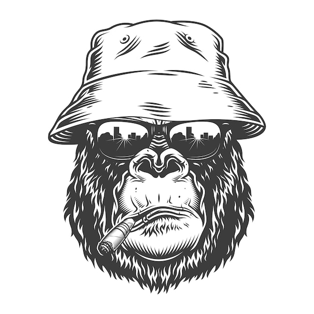 Голова гориллы в монохромном стиле Бесплатные векторы