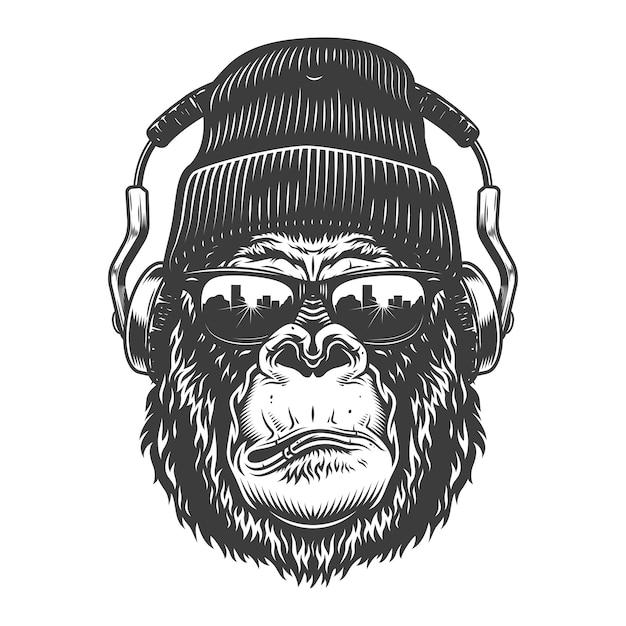 Testa di gorilla in stile monocromatico Vettore gratuito