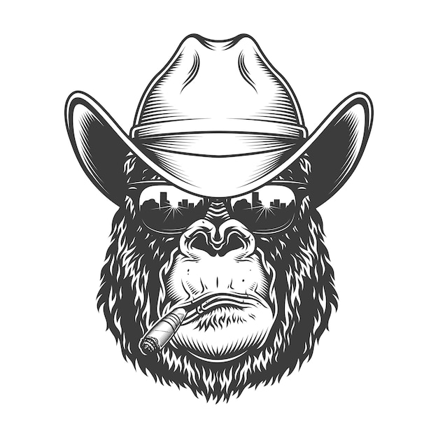 Gorilla head in monochrome style Free Vector