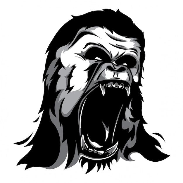 Gorilla head vector Premium Vector