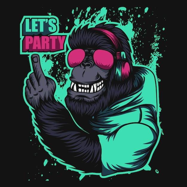 Gorilla headphone party Premium Vector