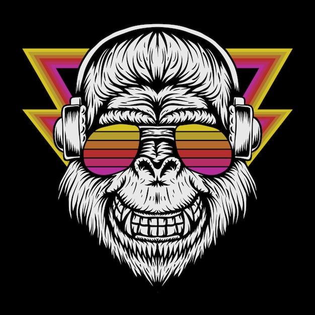 Gorilla headphone retro vector illustration Premium Vector