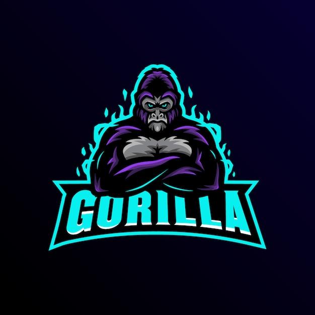 Gorilla талисман логотип киберспорт игры. Premium векторы