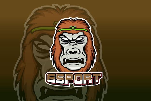 Талисман гориллы для спорта и логотипа киберспорта Premium векторы