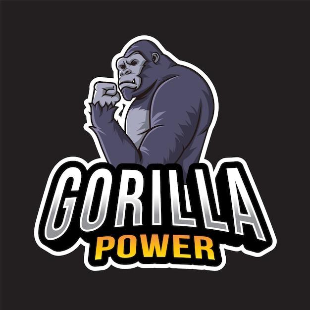 ゴリラパワーのロゴのテンプレート Premiumベクター