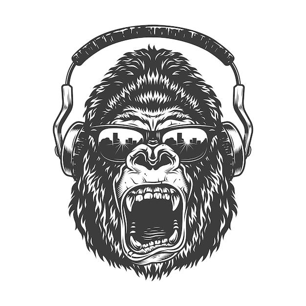 Gorilla con le cuffie Vettore gratuito