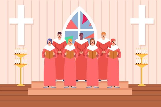 Евангельский хор в церкви Бесплатные векторы