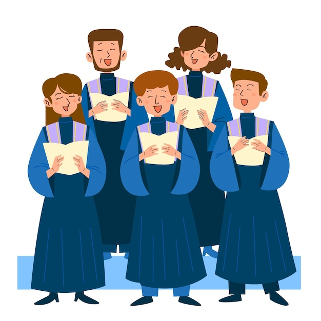 Gospel choir singing illustration Free Vector
