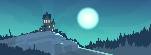 Gothic Castle View Night Moonlight Halloween Holiday Banner Premium Vector