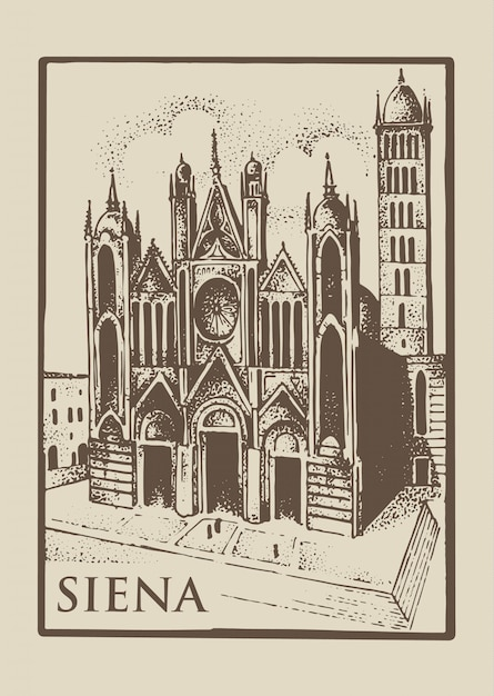 Готическая церковь в сиене, тоскана, италия, винтаж Premium векторы
