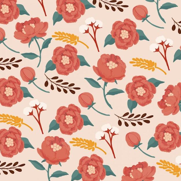 Gouache opaque watercolor red peonies seamless pattern Premium Vector