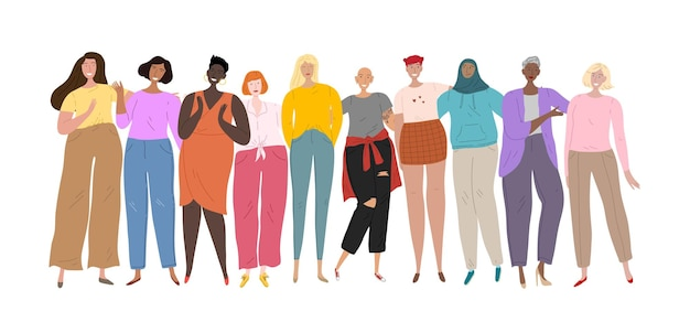 Goup of different ethnicity and cultures women standing together. womens collective, friendship, union. Premium Vector