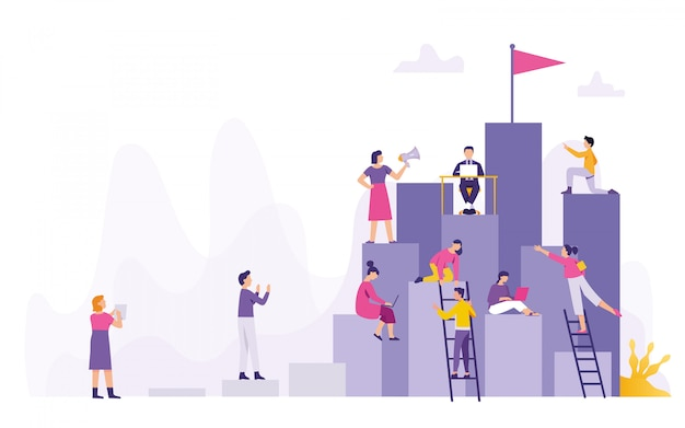 Goup of people working together Premium Vector