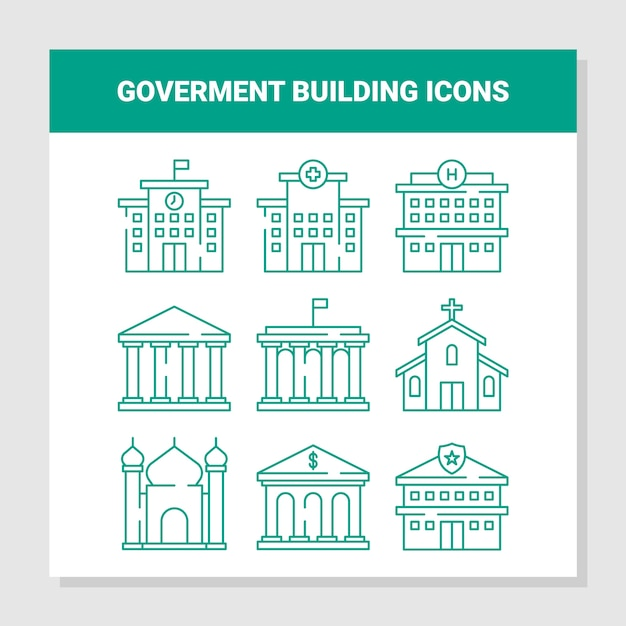 Goverment building icons Premium Vector