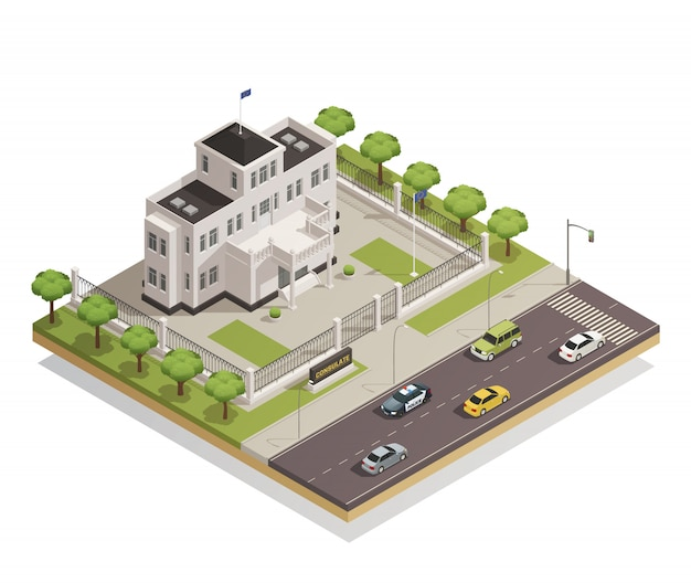 Government building area isometric Free Vector