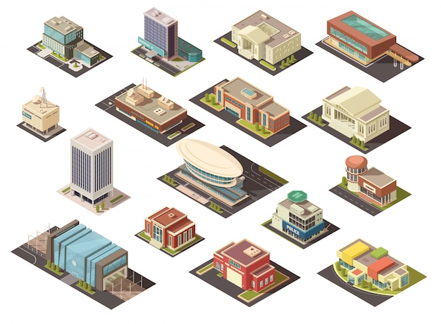 Government building isometric set Free Vector