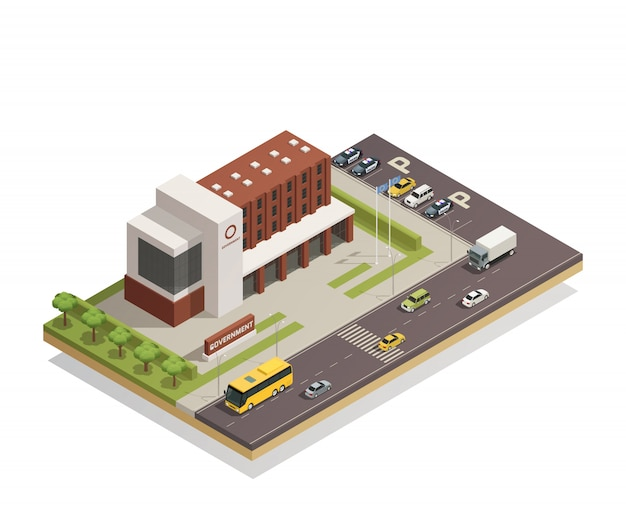 Government building outdoor isometric Free Vector