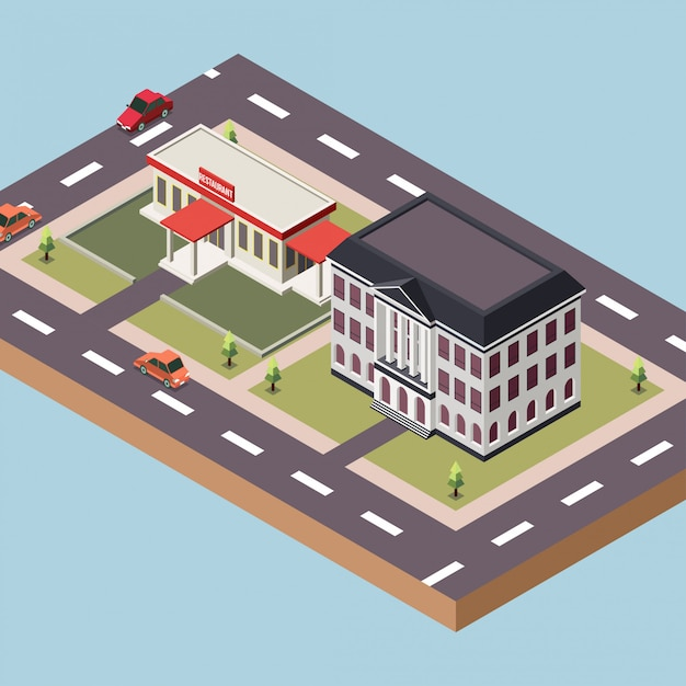 Government building and a restaurant in a town Premium Vector