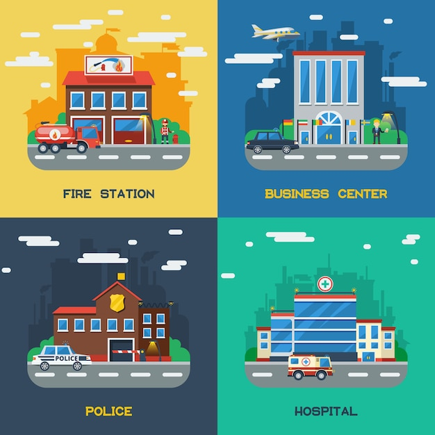 Government buildings 2x2 flat design concept Free Vector