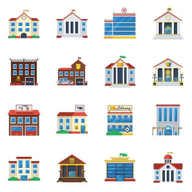 Government buildings flat color icon set Free Vector