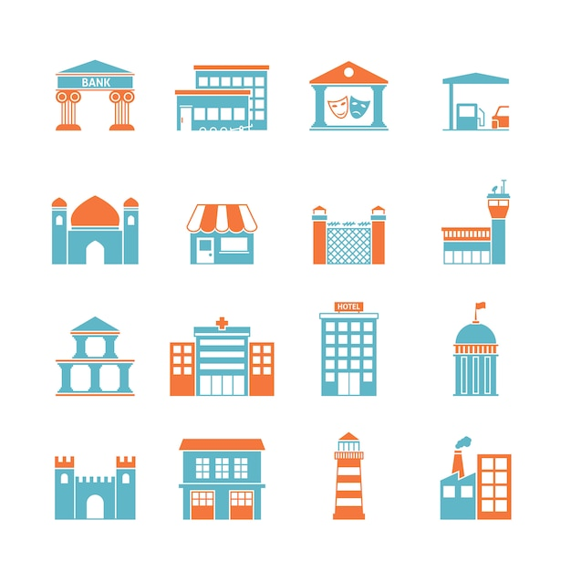 Government buildings icons Free Vector