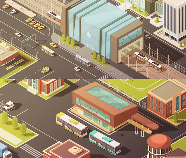 Government buildings isometric horizontal banners set Free Vector