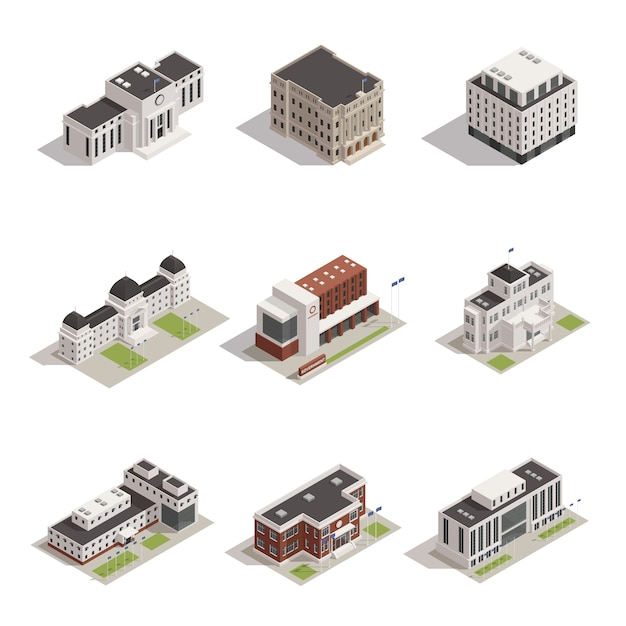 Government buildings isometric icons set Free Vector