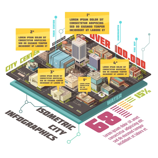 Government buildings isometric infographic set Free Vector