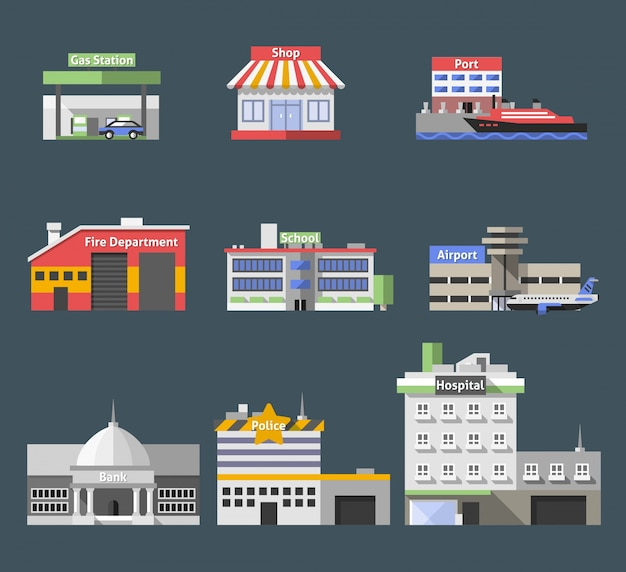 Government flat buildings set Free Vector