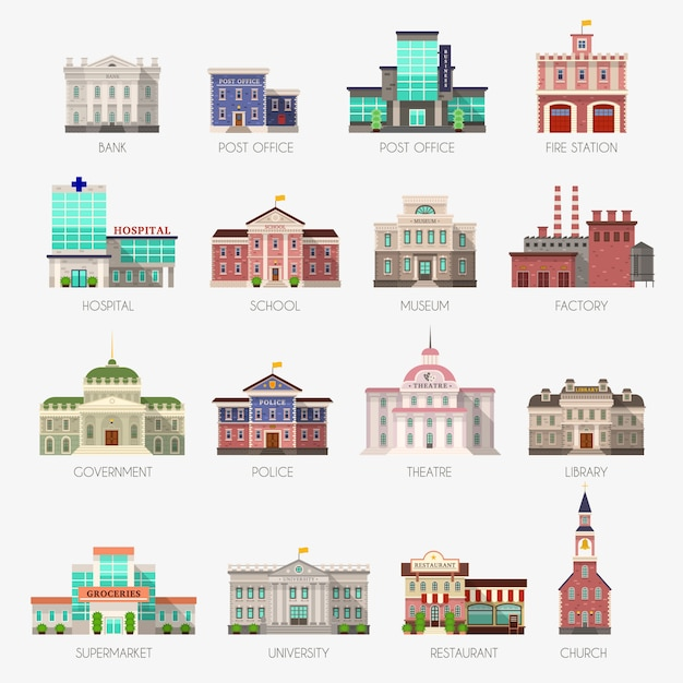 Government houses. municipal office bank, buildings hospital school university police station library city exterior flat icons Premium Vector