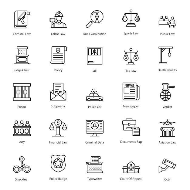 Government legislation line icons pack Premium Vector