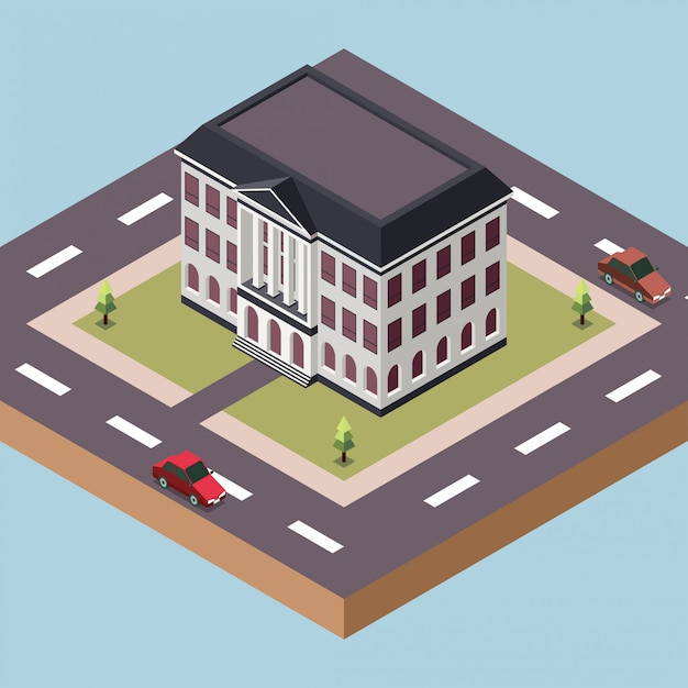 Government office building in a town Premium Vector