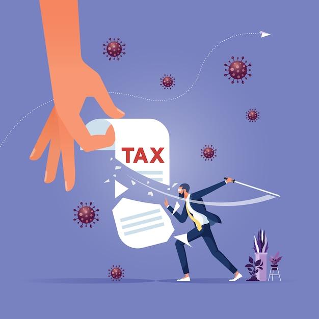 減税する政府は人々と企業が不況を乗り切るのを助けます Premiumベクター