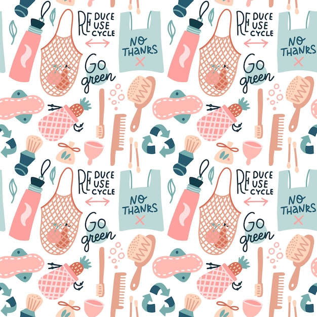 Gp green seamless pattern. hand drawn zero waste design. no plastic elements of eco life - reusable bags, wooden combs, woman personal hygiene products . flat hand drawn illustration. Premium Vector