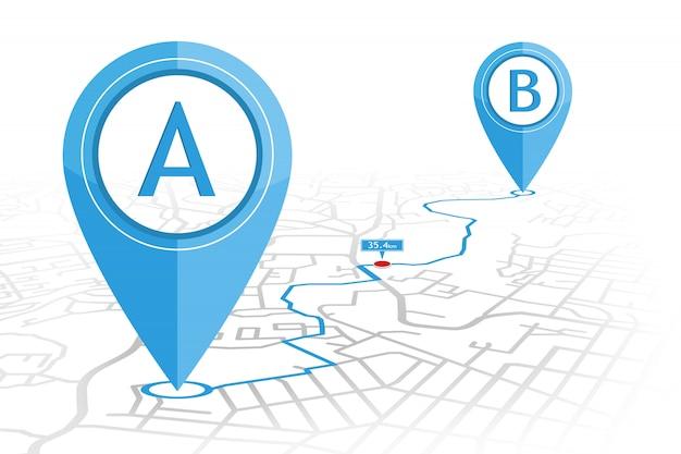 Gpsナビゲータピンが距離ポインタを使用してストリートマップ上のポイントaからポイントbをチェック Premiumベクター