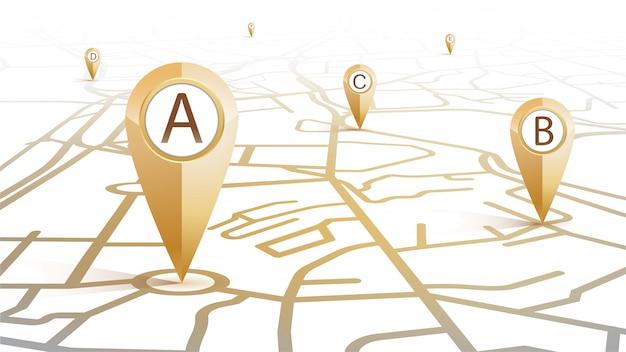 Значок булавки gps золотого цвета от a до f, показывающий форму карты улиц на белом фоне Premium векторы